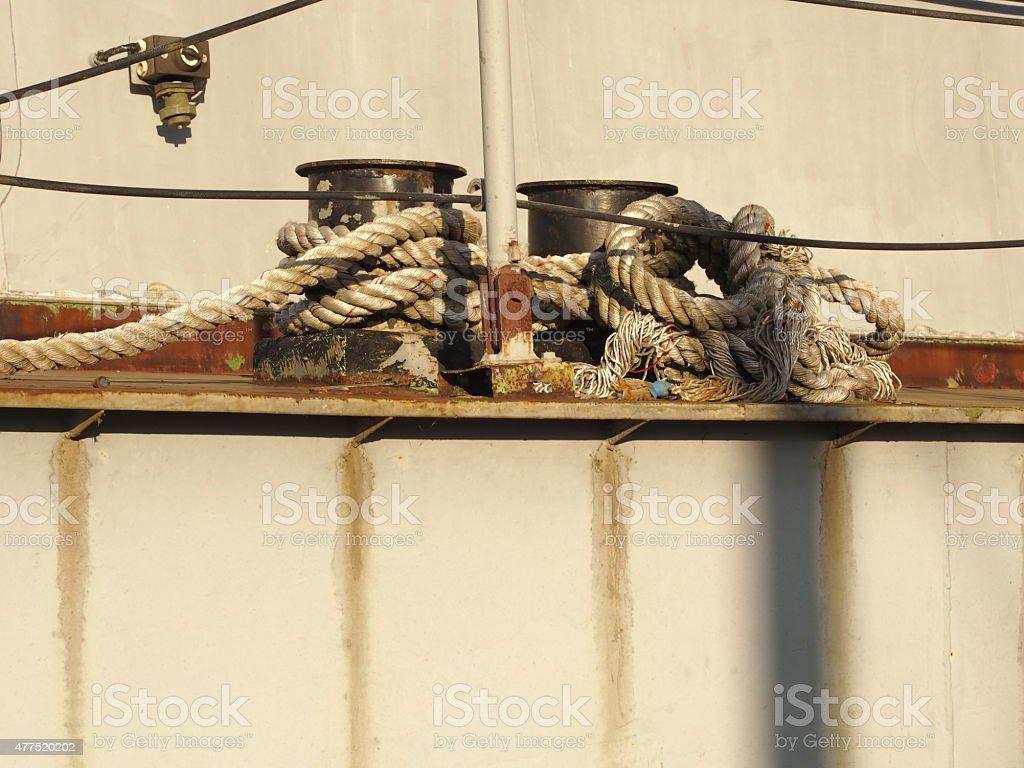 bitt with rope stock photo