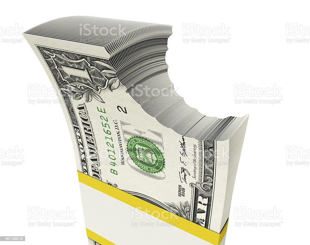 bitten $ 1 bills royalty-free stock photo