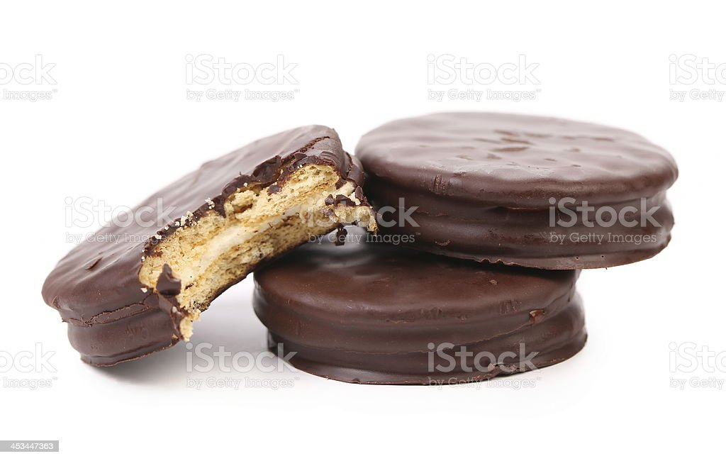 Bitten biscuit sandwich with chocolate. royalty-free stock photo
