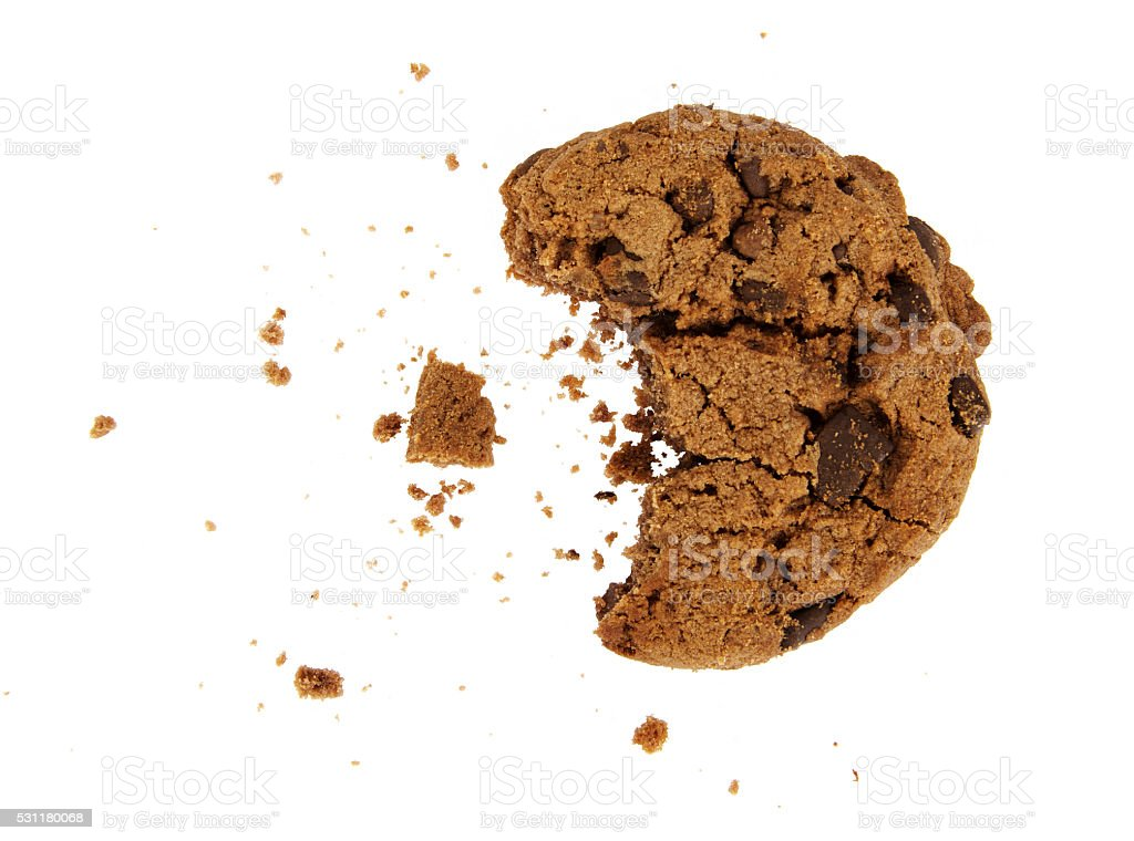 Bitten chocolate chip cookie stock photo