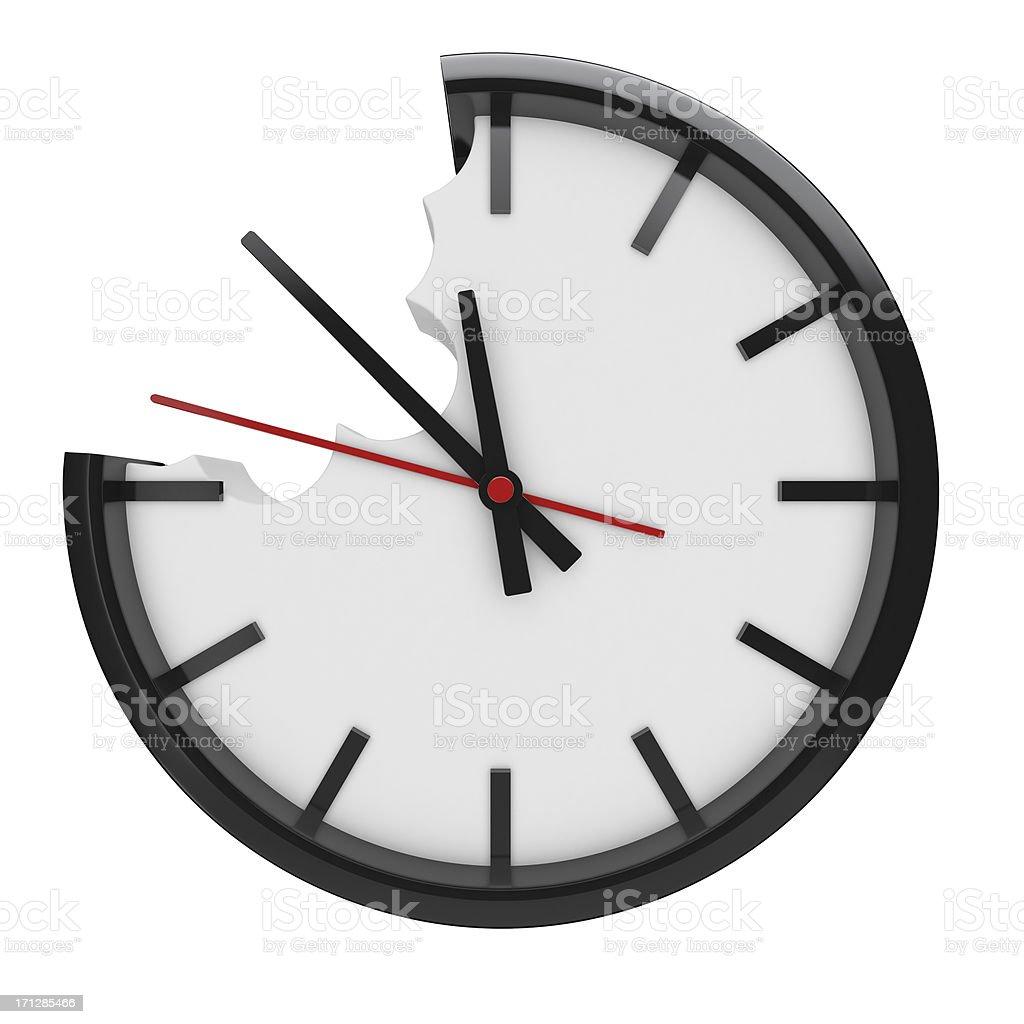Bitten clock royalty-free stock photo