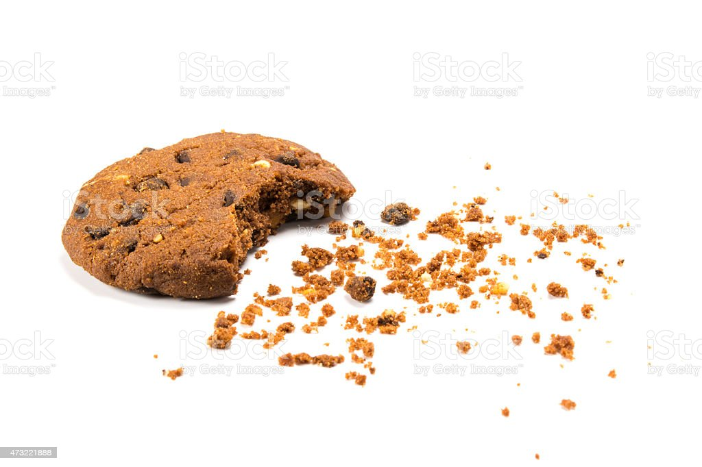 ? bitten cookie with crumbs stock photo