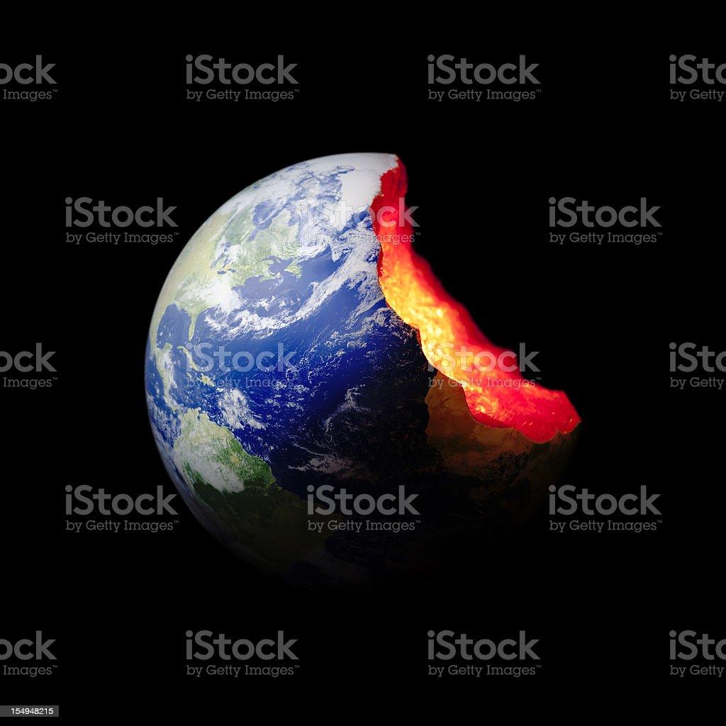 Bitten Earth World globe. Exploitation Environment Concept stock photo
