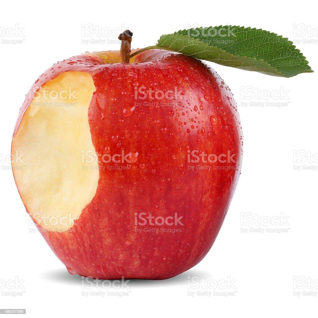 Bitten red apple fruit missing bite isolated stock photo