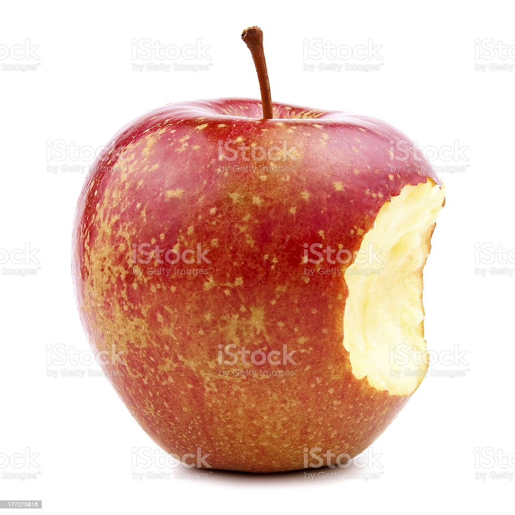 Bitten Red Apple Isolated on White stock photo