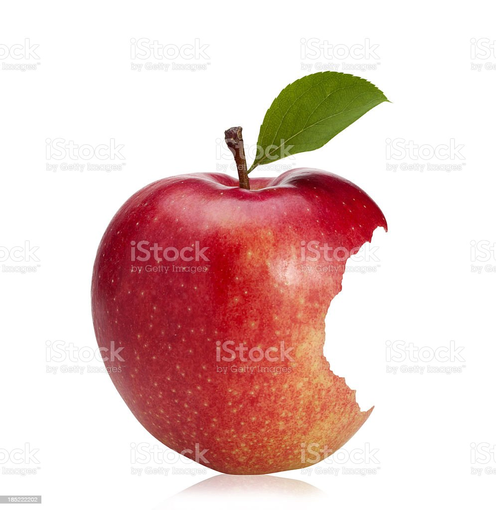 Bitten Red Apple (with clipping path) stock photo
