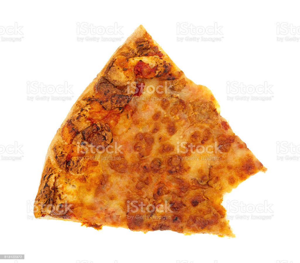 Bitten slice of cold cheese pizza stock photo