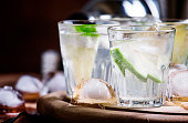 Bitter cocktail with lime, green grapefruit