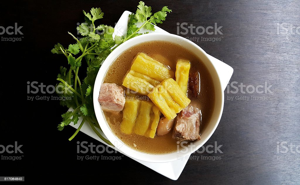 bitter melon soup with pork rib stock photo