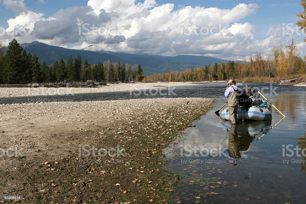 Bitterroot River fly fishing. royalty-free stock photo