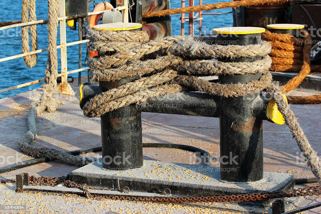 Bitts on ship deck stock photo