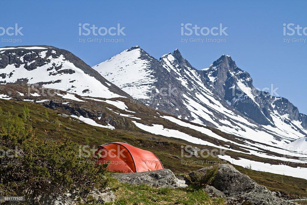 Bivouac in Jotunheimen stock photo