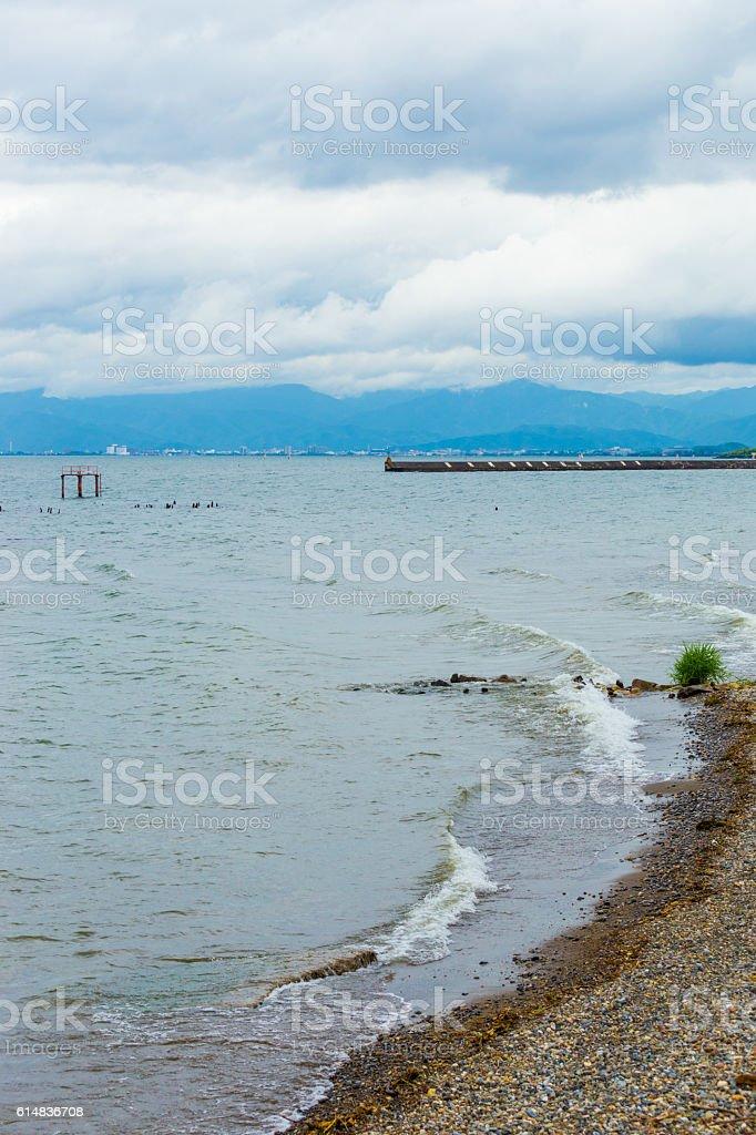 Biwa-Ko Lake Stormy Weather Clouds Shore V stock photo