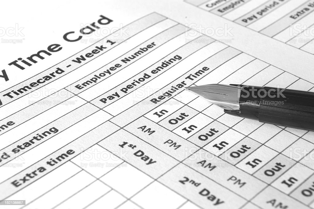Biweekly Time Card stock photo
