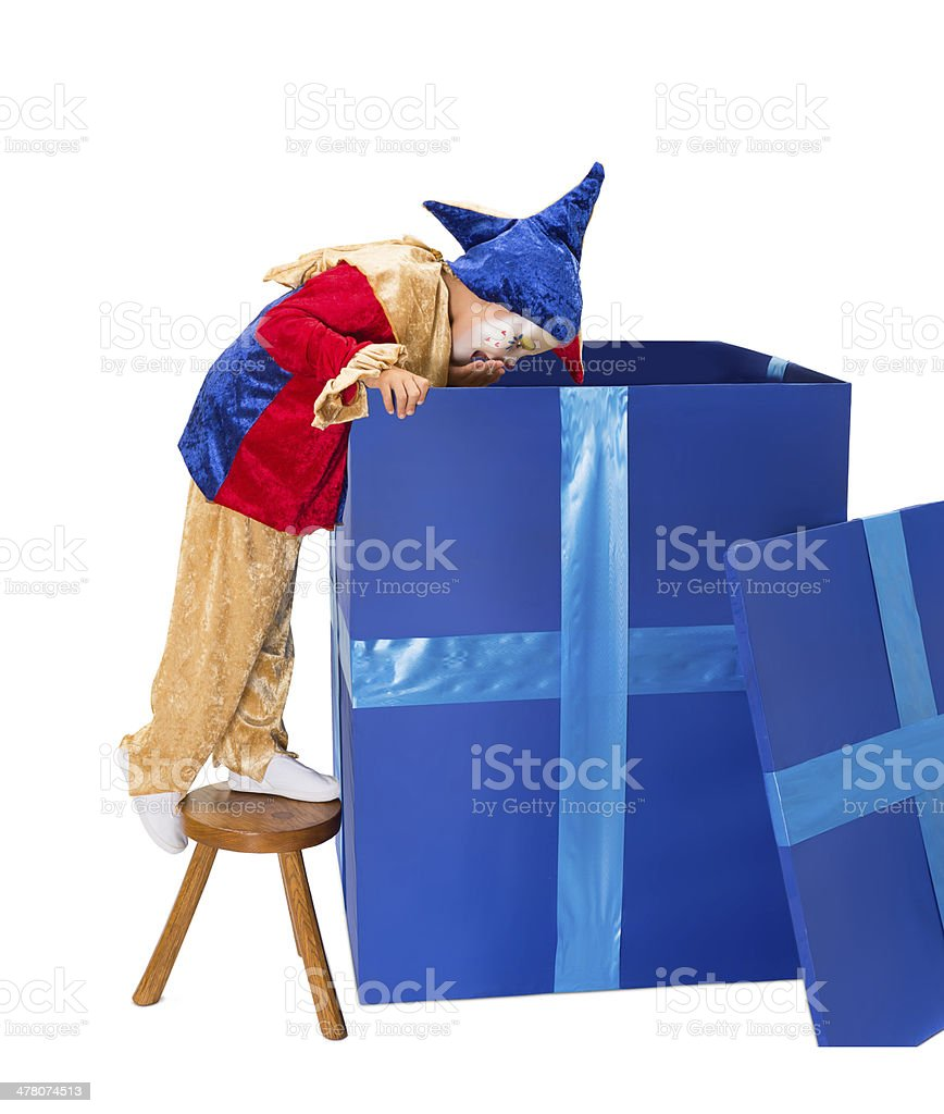 Bix surprise box with clown stock photo