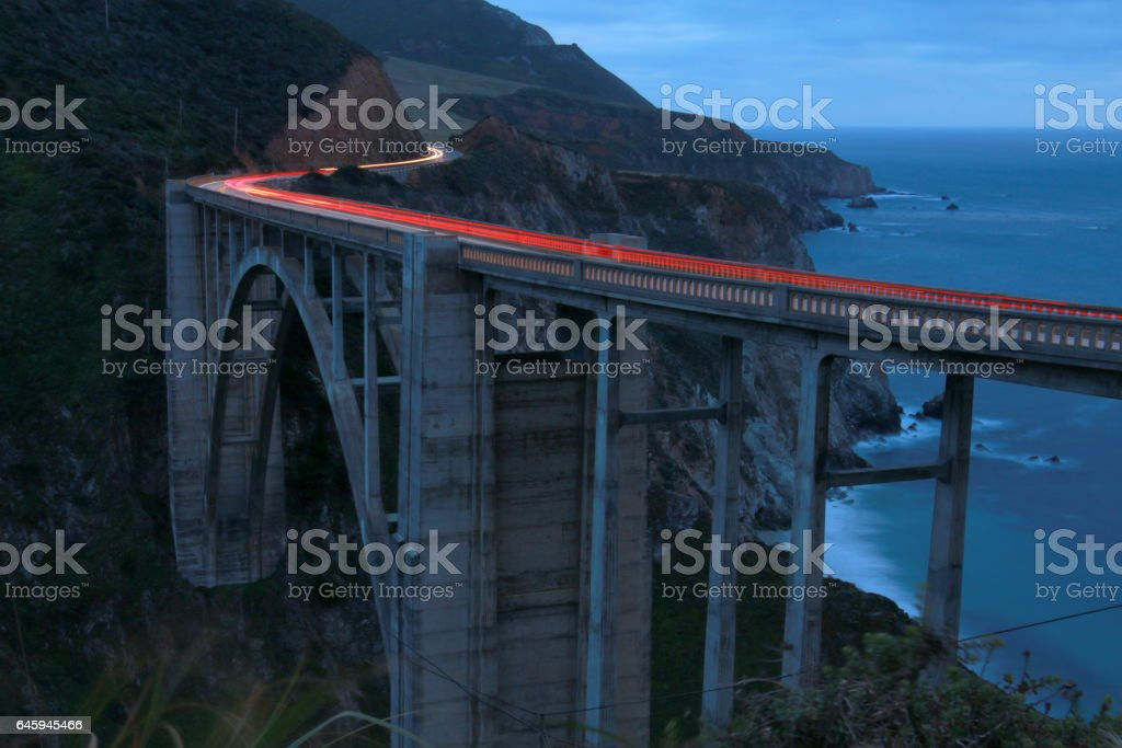Bixby bridge at twilight with long exposure stock photo