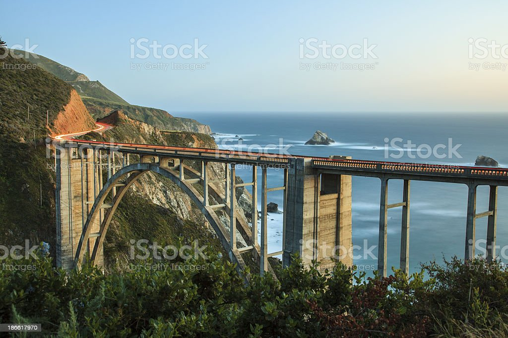 Bixby Bridge dusk, Big Sur, California stock photo