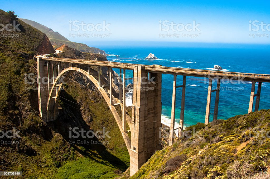 Bixby Bridge, Highway #1 Big Sur - California USA stock photo