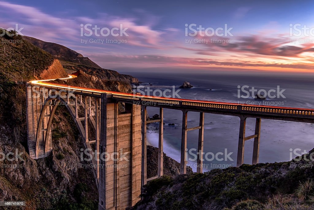 Bixby Bridge in Big Sur California on the coast stock photo