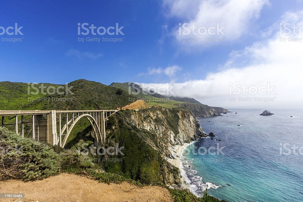 Bixby Bridge on the California Coastline stock photo