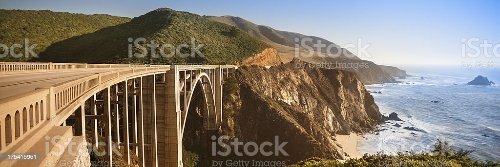Bixby Bridge panoramic, Big Sur, California, USA stock photo