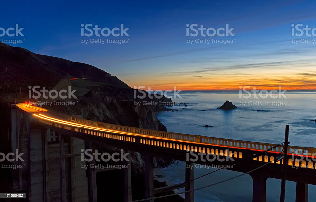 bixby bridge sunset stock photo