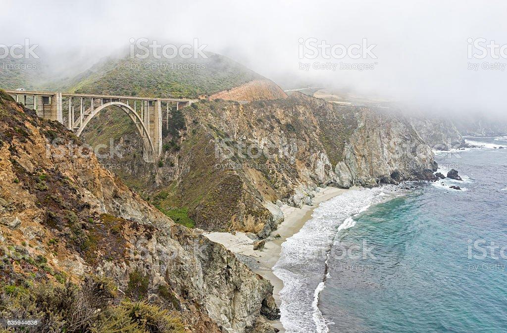 Bixby Bridge under the fog stock photo