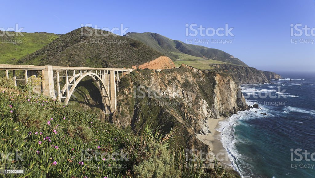 Bixby Creek Bridge and Big Sur coastline, California stock photo