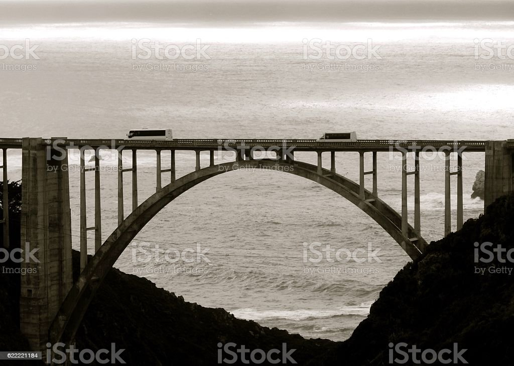 Bixby Creek Bridge B&W stock photo