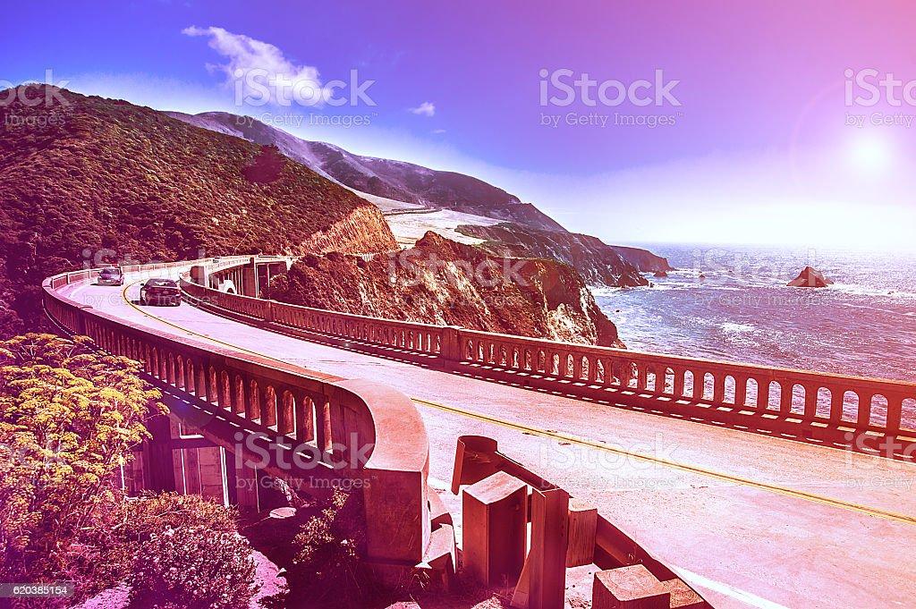 Bixby Creek Bridge on Highway #1 at US West Coast stock photo
