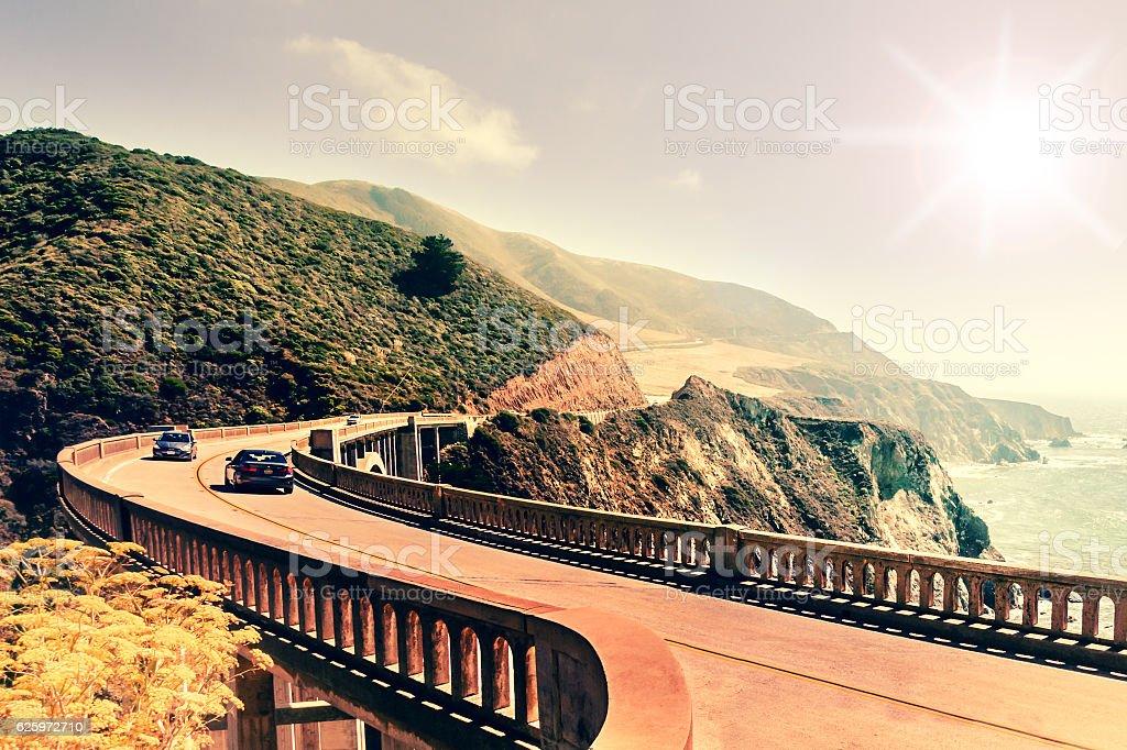 Bixby Creek Bridge on Highway #1 on US West Coast stock photo