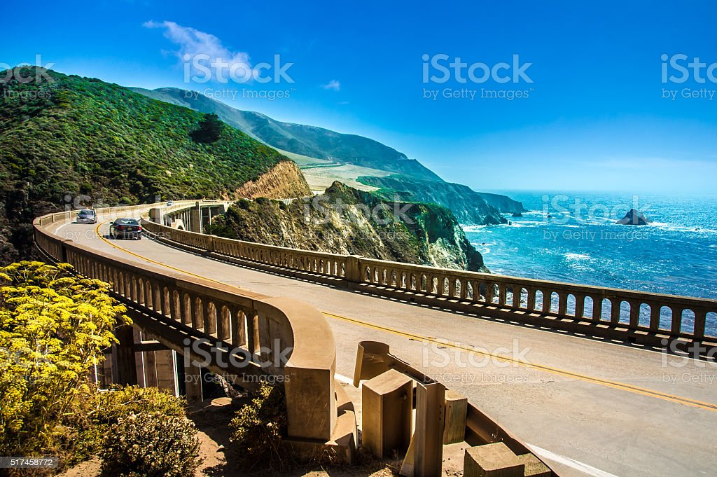 Bixby Creek Bridge on Highway at the US West Coast traveling south to...