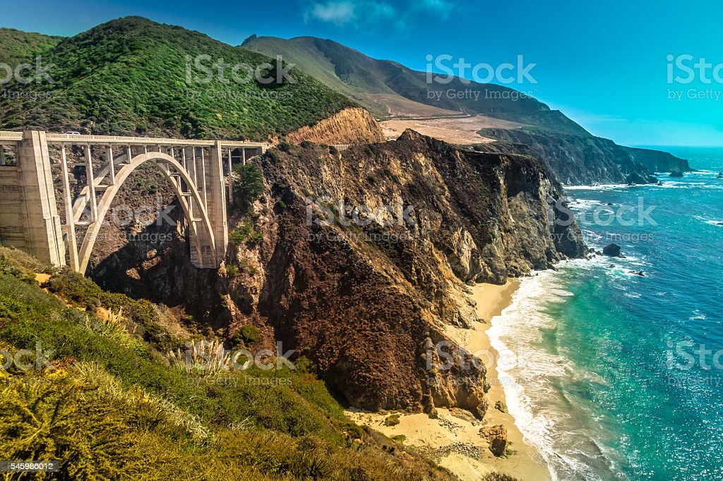 Bixby Creek Bridge on Pacific Coast Highway #1, Los Angeles stock photo