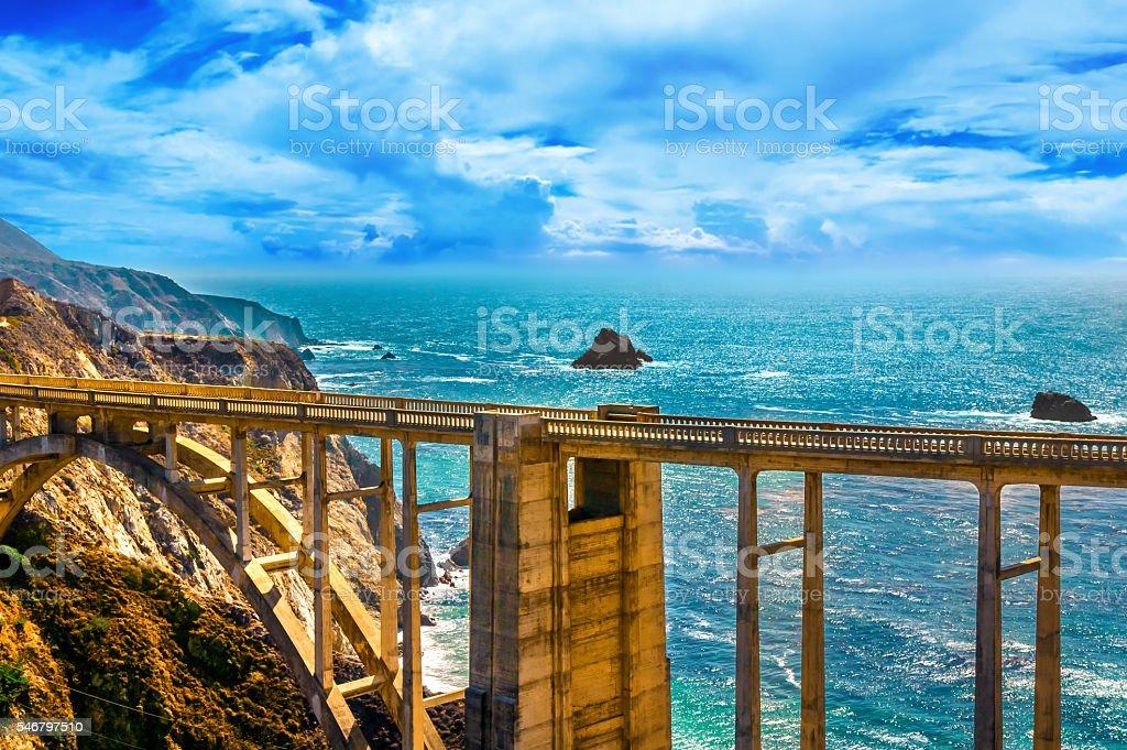 Bixby Creek Bridge on Pacific Coast Highway #1, Los Angeles stock photo