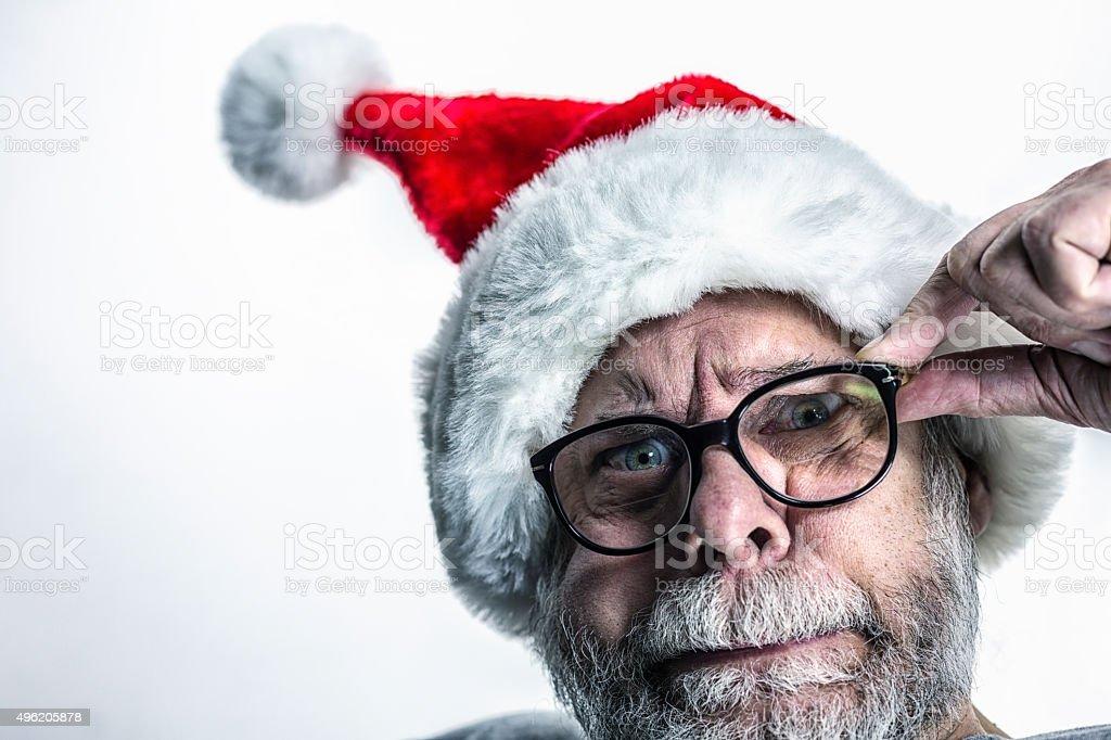 Bizarre Anxious Fearful Santa Claus stock photo