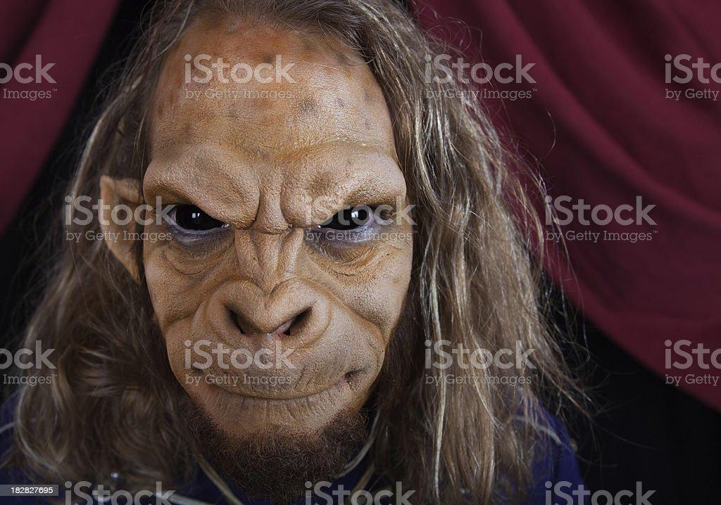 Bizarre Circus Sideshow Monkey Man stock photo