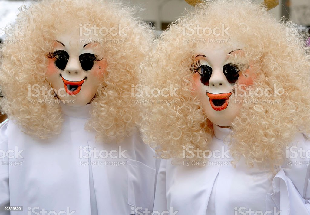 Bizarre female masks at Fasnacht Festival in Basel (XL) royalty-free stock photo