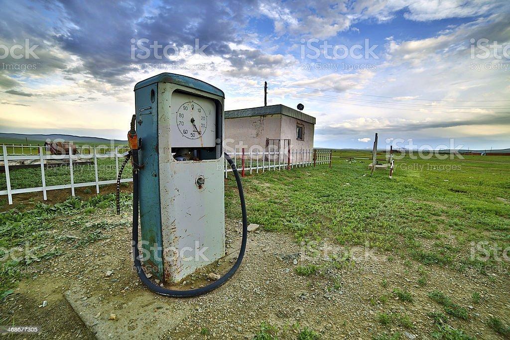 bizarre gas station pump, mongolia stock photo
