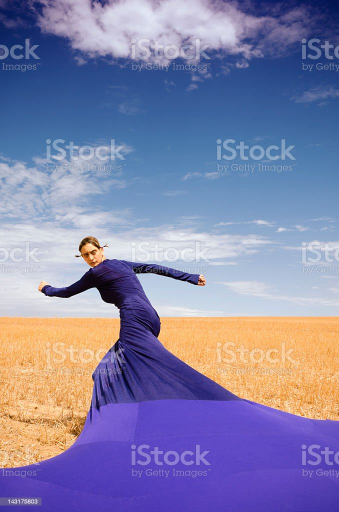 Bizarre lady with long dress - Fashion royalty-free stock photo