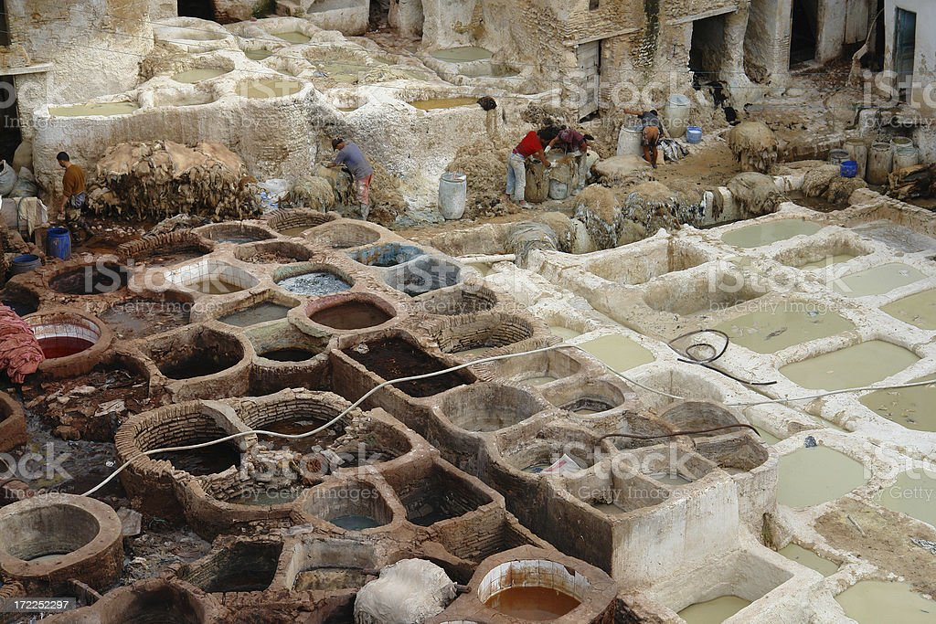 Bizarre Medieval Tannery in Fes, Morocco royalty-free stock photo