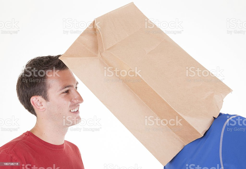 Bizarre Paper Bag Over Head stock photo