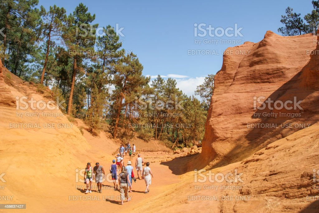 Bizarre rock formations in Roussillon, France stock photo