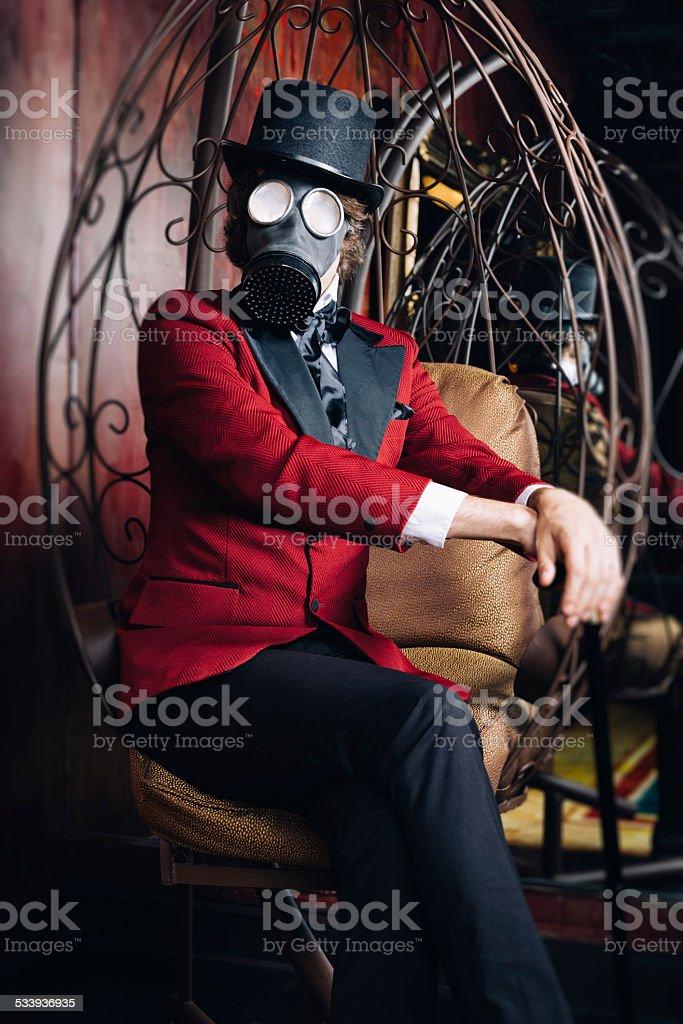 Bizarre Scientist with Gasmask 19th Century 'Time Machine' Style Portrait stock photo
