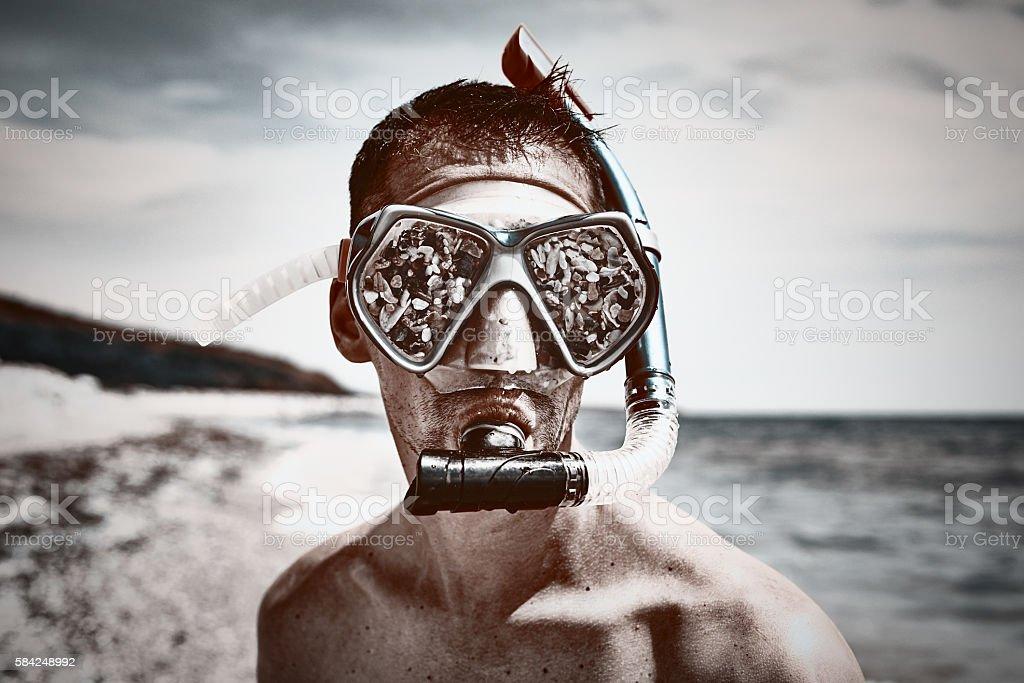 bizzare scuba diver portrait stock photo