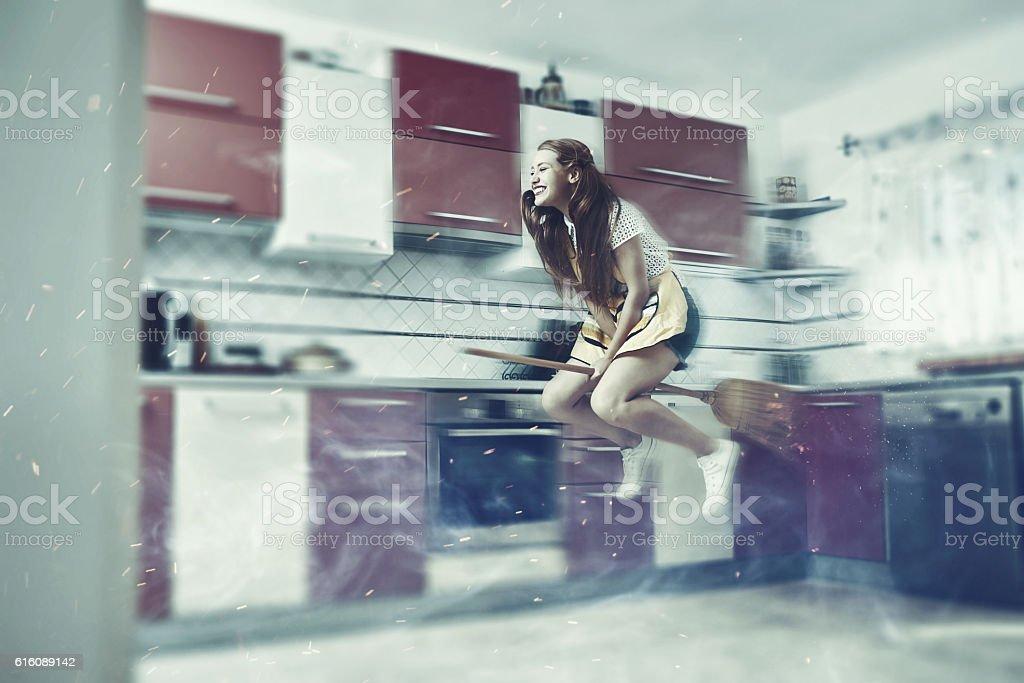 bizzare woman in the kitchen stock photo