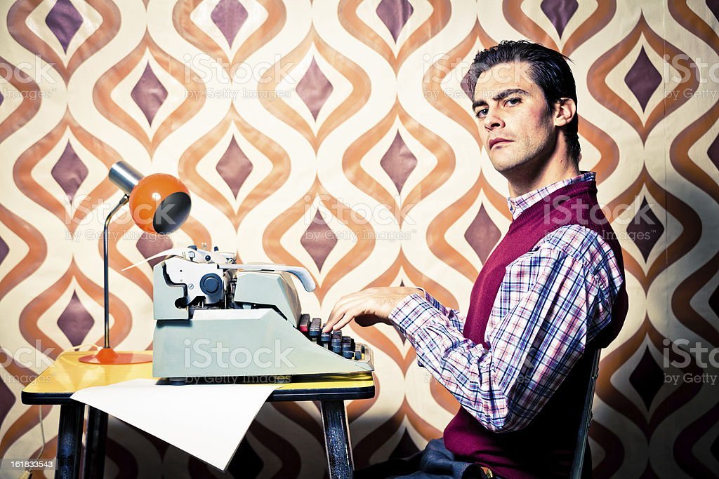 Bizzarre Vintage Office Worker Typing royalty-free stock photo