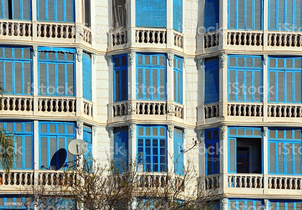 B?ja?a, Algeria: 1930s oriel windows stock photo