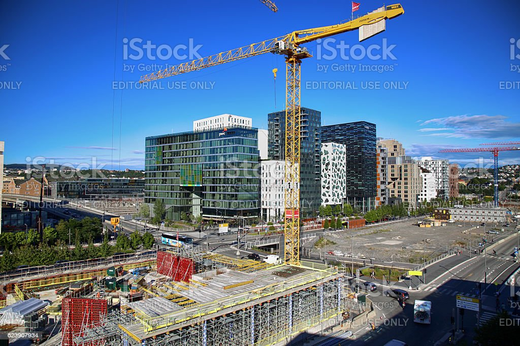 A construction site of Bjorvika under construction in progress with a...