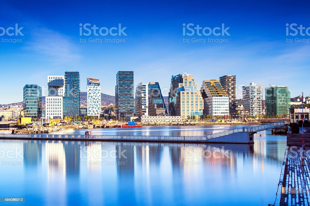 Bjørvika Barcode in Oslo Norway stock photo