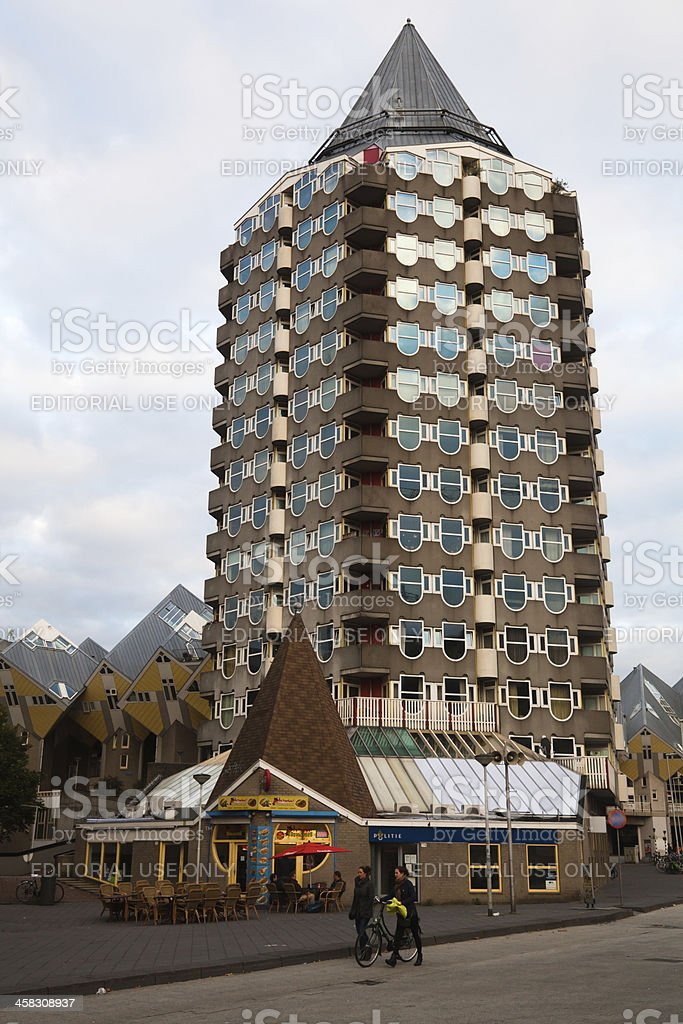 Blaaktower and cubic houses in Rotterdam stock photo